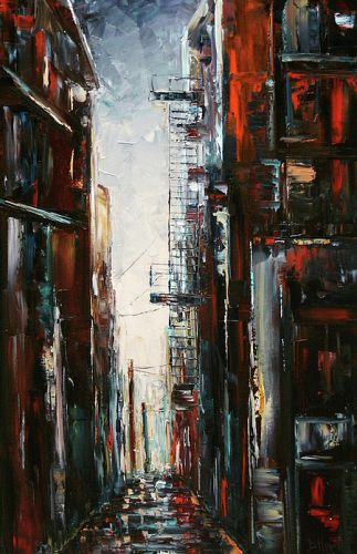 "Cityscape Art Landscape Street Scene Painting Rainy Umbrella Paintings ""Damp and Cold"" By Texas Artist Debra Hurd"