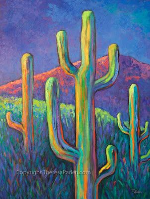 Colorful Desert Landscape with Cactus by Southwest Artist Theresa Paden