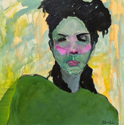 "Contemporary Expressionist Portrait Fine Art Painting, Figurative Art ""I'm Listening"" by Oklahoma Artist Nancy Junkin"