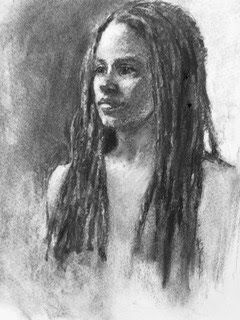 Braids - charcoal portrait drawing of the model