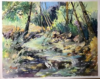 Discovered Oasis..Watercolor..Texas Artist ..Rae Andrews