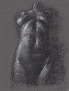 Frontal female nude charcoal drawing and white chalk