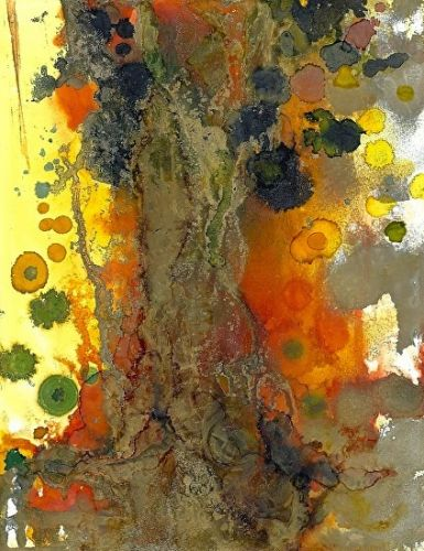 "Contemporary Alcohol Ink Painting ""Solitary Old Tree"" by Contemporary New Orleans Artist Lou Jordan"