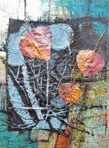 "Contemporary Fine Art Painting,Nature Art, Aspen Leaf,""Autumn Night"" by Colorado Artist Gerri Calpin"