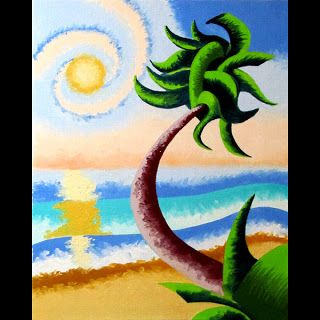 Mark Webster - Abstract Geometric Palm Tree Ocean Landscape Oil Painting