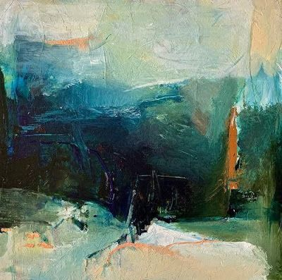 "Contemporary Abstract Landscape Art Painting ""ENTRANCE TO THE UNKNOWN"" by Intuitive Artist Joan Fullerton"
