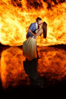 This Fiery Wedding Portrait Was Made with a Single Long Exposure