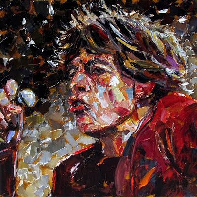 "Palette Knife Musician Art Portrait Oil Painting, ""Sir Michael Philip Jagger"" by Texas Artist Debra Hurd"