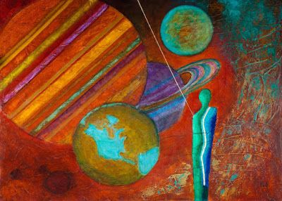 "Original Contemporary Painting, Abstract Figure, Mixed Media Art ""World's Beyond"" Painting by Contemporary Arizona Artist Pat Stacy"