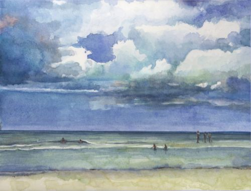 Watercolor: Tide Pool Brocade - and the challenge of painting clouds in watercolor