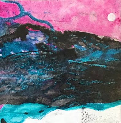 "Abstract Landscape Painting, Expressionism, Contemporary Art, ""Moon Rising"" by Arizona Abstract Artist Cynthia A. Berg"