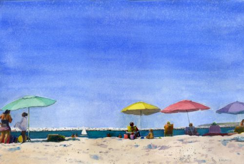 Watercolor: Primary Parasols and Artist's Negative Self Talk