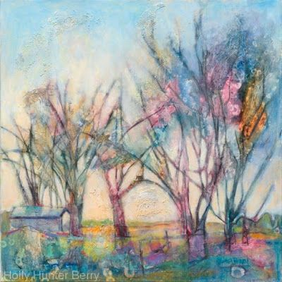 "Contemporary Abstract Landscape, Tree Art Painting ""Shelter in Plain Sight"" by Texas Artist Holly Hunter Berry"
