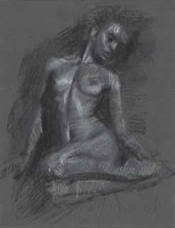 Sitting female nude drawing