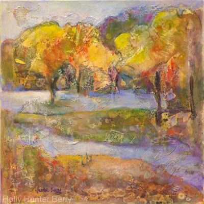 """Contemporary Abstract Landscape, Tree Art Painting """"Restoration"""" by Texas Artist Holly Hunter Berry"""