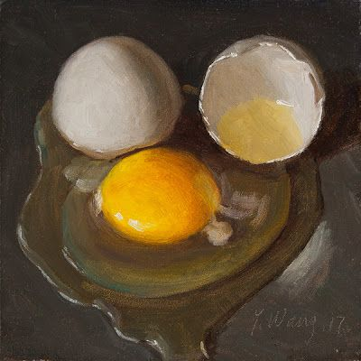 A cracked egg daily painting a day still life food painting small work of art