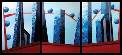 Mark Webster - Abstract Buildings in the Clouds Triptych