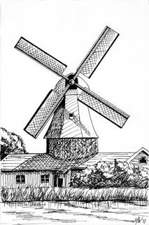 Mark Webster Artist - Windmill Landscape Pen and Ink Drawing