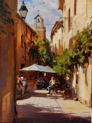 """""""A Cafe in Venesque"""" From Here to France with Robin Weiss, Cole Gallery, Edmonds WA"""