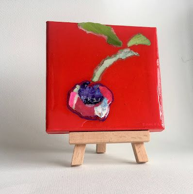 "Summer Sale, Still Life, Resin, Textural Collage, Small Painting, Mixed Media ""PAPER BING"