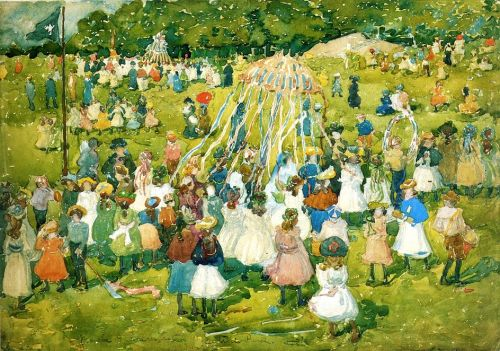 20C SPRING in Central Park by Maurice Prendergast (1858-1924)