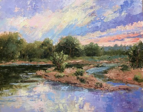 Contemporary Impressionistic Landscape Palette Knife Plein Air Oil Painting by Sheri Jones