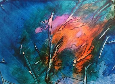 "Abstract Painting, Contemporary Art, Expressionism ""Flaming Meteor"" By Arizona Artist Cynthia A. Berg"