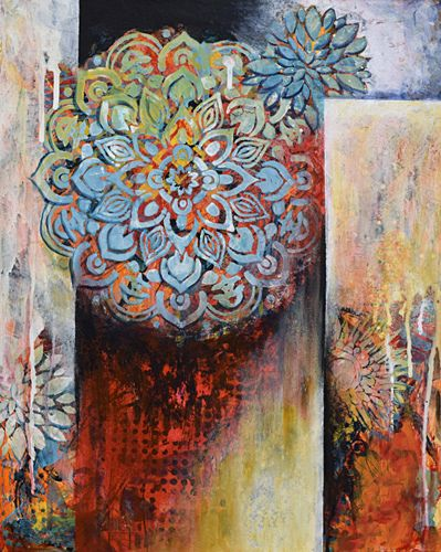 """Contemporary Flower Painting, Abstract Art,""""First Bloom"""" by Santa Fe Contemporary Artist Sandra Duran Wilson"""
