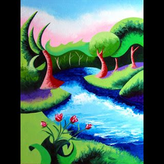 Mark Webster - Abstract Geometric River Landscape Oil Painting 2012-04-18