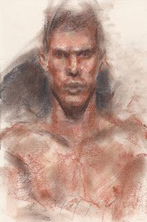 Roman soldier frontal male nude portrait drawing