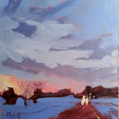 Contemporary Winter Landscape Snow Sunset Paintings and Prints Heidi Malott