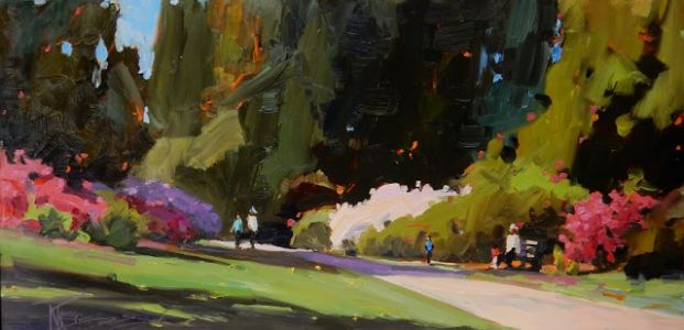 """The Rhodie Walk"" Seattle Arboretum, plein air painting by Robin Weiss"