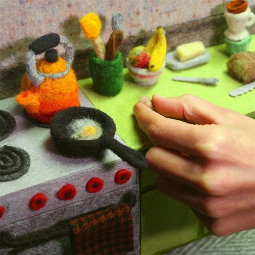 Felted Bacon Sizzles and Wooly Bread is Sliced in Breakfast-Themed Fiber Animations by Andrea Love