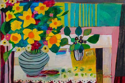 "Contemporary Expressionist Still Life Art,Bold Expressive Painting ""Daffodils + Violets"" by Santa Fe Artist Annie O'Brien Gonzales"