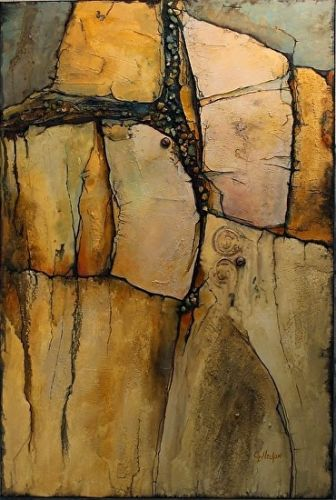 "Geological Abstract Painting, ""Wood Rock"" © Carol Nelson Fine Art"