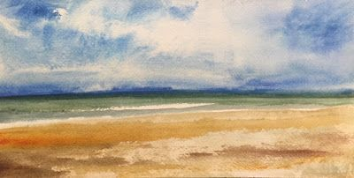 "Watercolor Beach and Ocean Painting, ""Perfect Beach Day,"" by Amy Whitehouse"