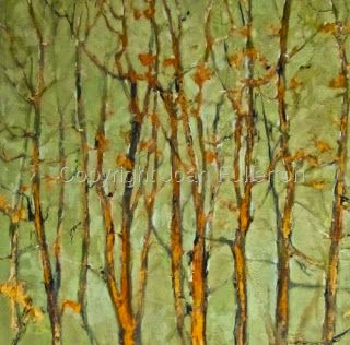 "Contemporary Abstract Aspen Tree Landscape Painting ""Elegant Whispers"" by Intuitive Artist Joan Fullerton"
