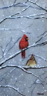 Winter Lovebirds, by Melissa A. Torres, 12x24 acrylic and resin on cradled gessobord