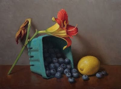 """Lily, Lemon and Blueberries"" Oil on 9x12 inch board"