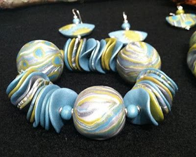 "Polymer Clay Jewelry ""AQUA & MUSTARD BRACELET 8"", EARRINGS"" by Colorado Artist and Designer Gerri Calpin"