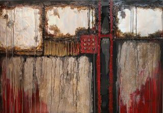 """Mixed Media Abstract Painting, """"Industrial Chic 2"""" by Colorado Mixed Media Artist Carol Nelson"""