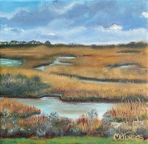 """""""The Salt Ponds,"""" by Melissa A. Torres, 6x6 oil on canvas"""