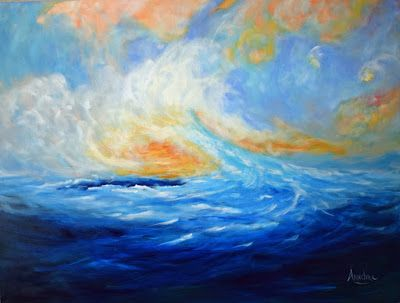 "Contemporary Abstract Seascape Painting ""Our Dreams Make Us Come Alive"" by Contemporary International Artist Arrachme"