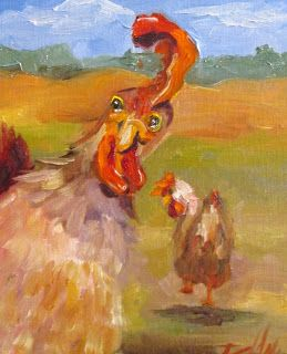 Chickens Oil Painting