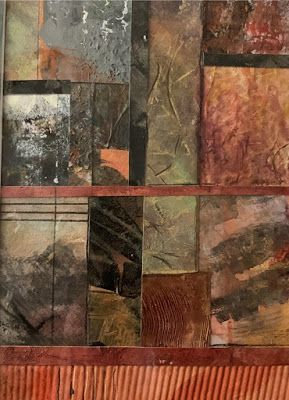"""Contemporary Painting, Mixed Media Art, """"A STUDY IN WARM COLORS"""" by Florida Contemporary Artist Mary Ann Ziegler"""