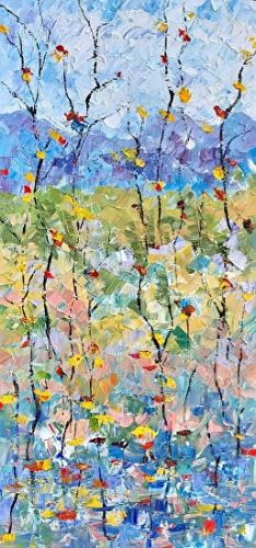 "Abstract Palette Knife Oil Aspen Tree, Flower Landscape Painting ""Summer Celebration 5"" by Colorado Impressionist Judith Babcock"
