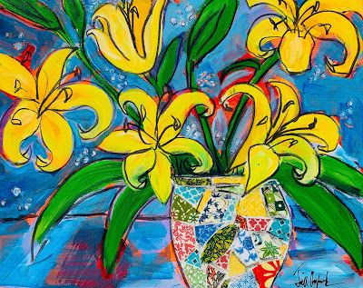 "Expressive Still Live Floral Painting, Colorful Original Flower Art, ""MISS LILY AND FRIENDS "" by Texas Contemporary Artist Jill Haglund"