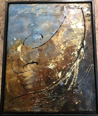 """Encaustic Abstract Art, Mixed Media, Contemporary Painting, """"Fools Gold"""" by Texas Contemporary Artist Sharon Whisnand"""