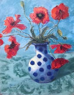 Poppies and Dots, New Contemporary Still Life Painting by Sheri Jones