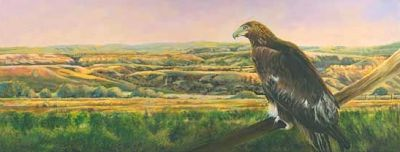 "Original Colorado Landscape Painting With Eagle ""Uncompahgre Gold"" by Colorado Artist Nancee Jean Busse, Painter of the American West"